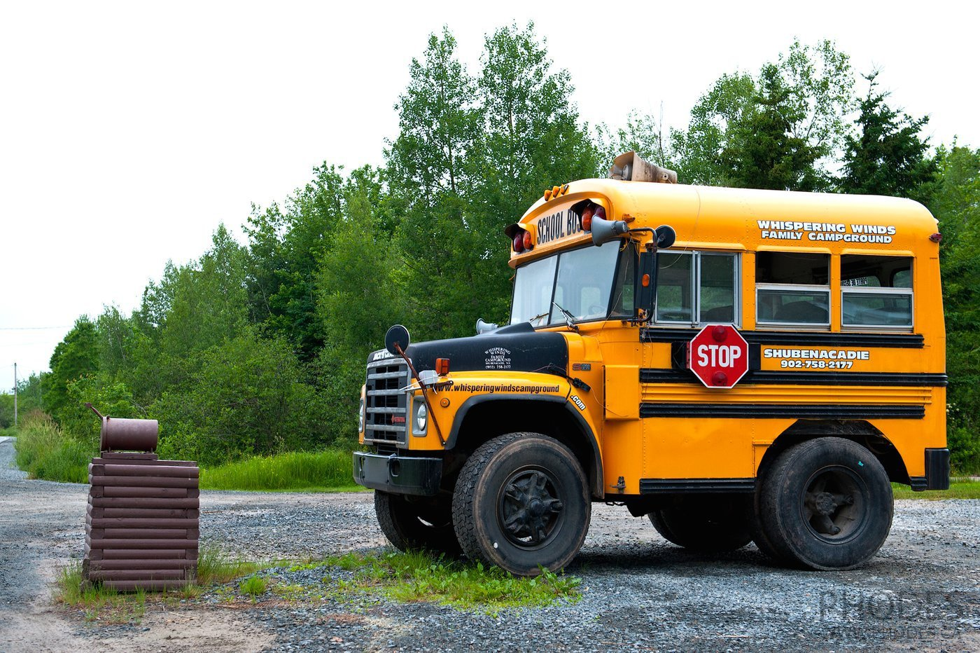School bus on Cape Breton Island in Nova Scotia