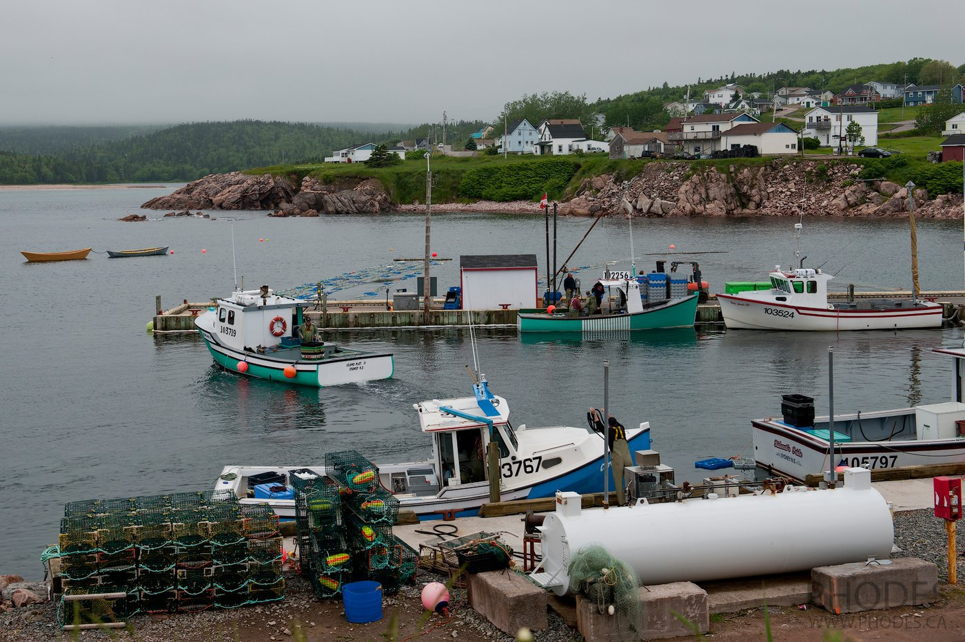 Fishing boats in a harbor on Cape Breton Island in Nova Scotia