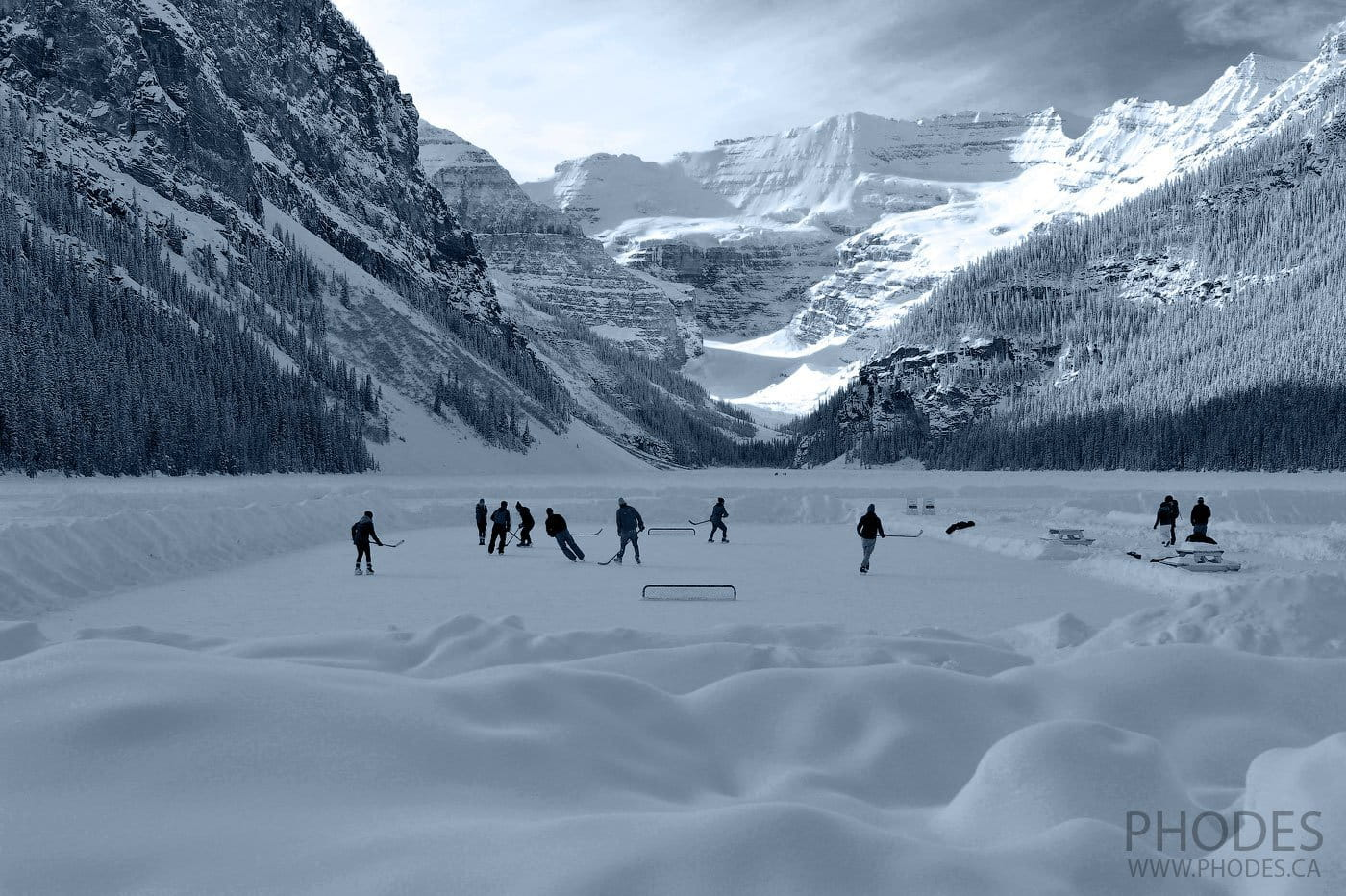 Ice hockey rink on Lake Louise in Banff