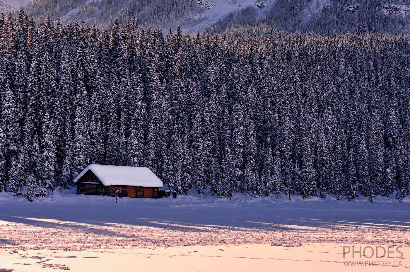 Boathouse on Lake Louise in winter