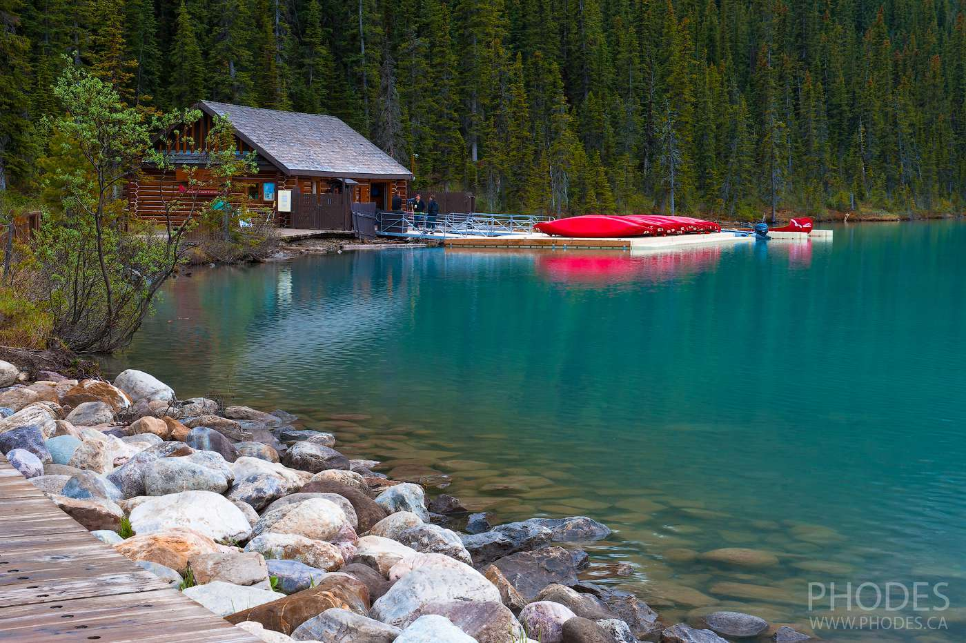 Boat house on Lake Louise in Banff Park