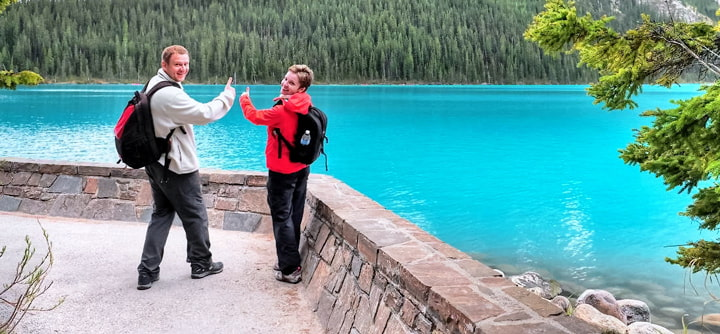 Tourists on Lake Louise in Banff Park